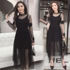 Set: Long-sleeve Midi Mesh Dress + Slipdress