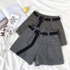 Houndstooth High-waist Woolen Shorts With Belt