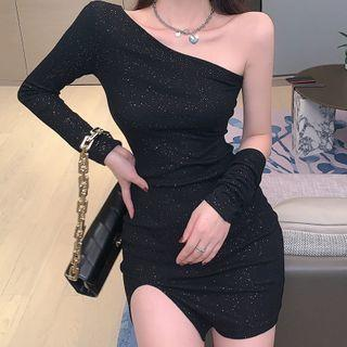 Set: One-shoulder Glitter Mini Sheath Dress + Fingerless Gloves