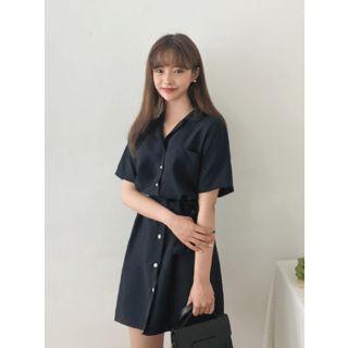 Belted Mini Shirtdress