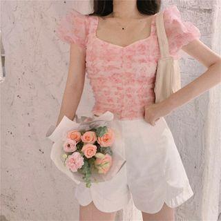 Heart Print Puff-sleeve Chiffon Top / High-waist Shorts