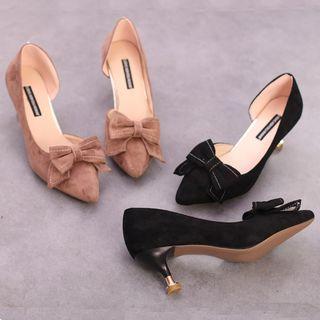 Bow Accent Kitten-heel Pumps