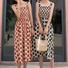 Dotted Strappy Midi A-line Dress