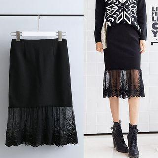 Lace-hem Panel Skirt