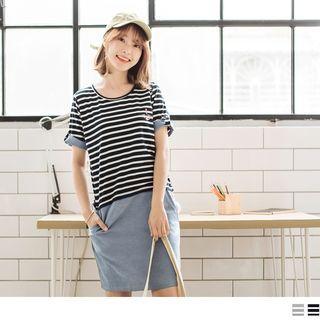 Fold-up Short Sleeve Striped Panel Dress