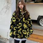Floral Zip Jacket Black - One Size