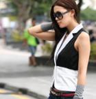 Color-block Chiffon Vest