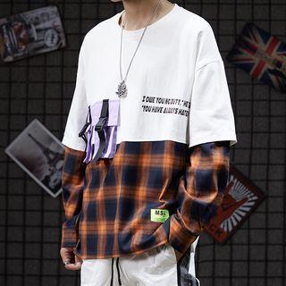 Long-sleeve Plaid Paneled Letter T-shirt