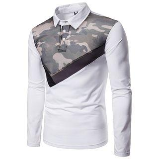 Camouflage Panel Long-sleeve Polo Shirt