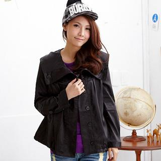 Lapel Hooded Satin Jacket