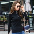 Half Zip Mock-turtleneck Long-sleeve Knit Top