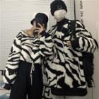 Zebra Stripe Fleece Cropped Pullover / Fleece Pullover