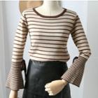 Crew-neck Striped Flared Sweater
