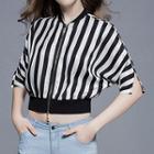 Striped Elbow-sleeve Zip Jacket