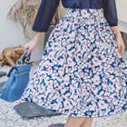 Zip-back Floral Print Midi Skirt