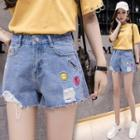 Smiley Face Embroidered Denim Shorts