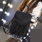 Faux Leather Fringe Flap Backpack