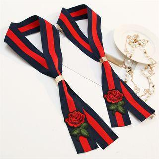 Embroidery Striped Long Slim Scarf