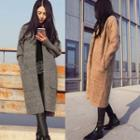 Open Front Pocketed Knit Long Cardigan