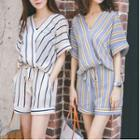 Set: Striped Elbow Sleeve Chiffon Shirt + Shorts