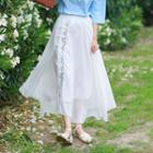 Floral Embroidered Maxi Chiffon Skirt