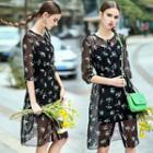 Elbow-sleeve Printed Dress With Slipdress
