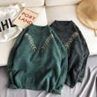Loose-fit Embroidered Knit Sweater