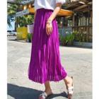 Crinkle A-line Midi Skirt