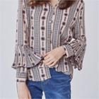 Pleated-detail Patterned Blouse