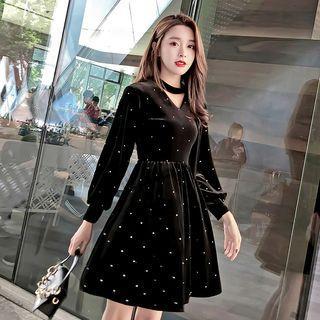 Velvet V-neck Mini Dress