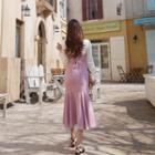 Lace-up Back Ruffle-hem Pinafore Dress