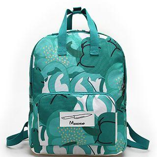 Print Canvas Backpack With Pouch