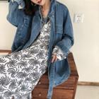 Drawstring Waist Denim Jacket Denim Blue - One Size