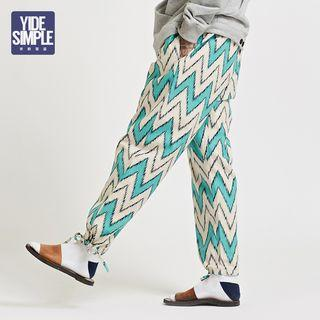 Tie-hem Patterned Harem Pants