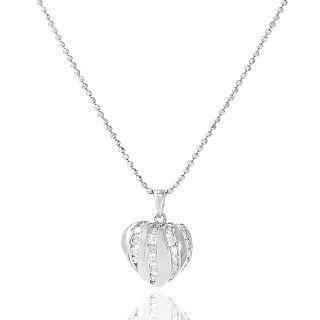18k White Gold Heart Shape Pendant With Diamonds