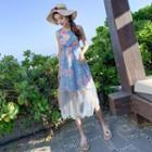 Sleeveless Floral Print Sheer Panel Midi Dress