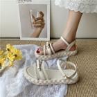 Platform Braided Bow Ankle Strap Sandals