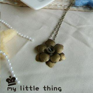 Vintage Brass Flower Necklace