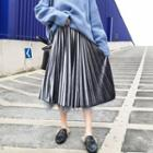 Reversible Midi A-line Pleated Velvet Mesh Skirt