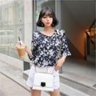 Tie-neck Elbow-sleeve Floral Blouse