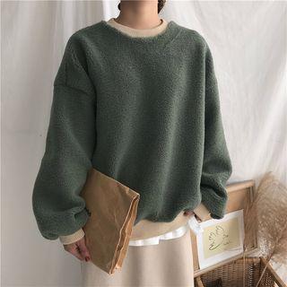 Contrast-trim Long-sleeve Fleece Top