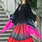Patterned Fringed Knit Jacket