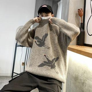 Crane-print Loose-fit Sweater