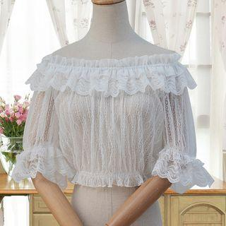 Lace Off-shoulder Elbow-sleeve Top