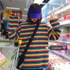 Rainbow Stripe Long-sleeve T-shirt Multicolor - One Size