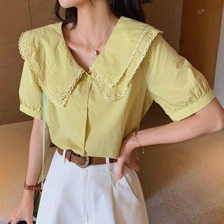 Short-sleeve Layered Collar Top