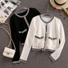 Patterned Trim Knit Jacket