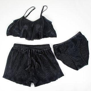 Set: Metallic Bikini + Drawstring Waist Shorts
