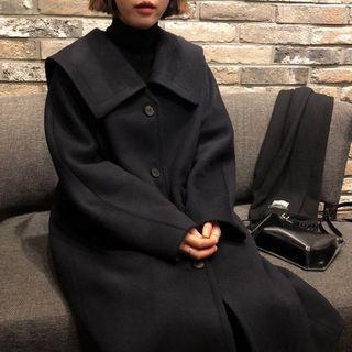 Sailor Collar Single-breasted Coat Black - One Size