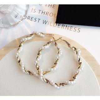 Faux Pearl Twisted Hoop Earring 1 Pair - As Shown In Figure - One Size